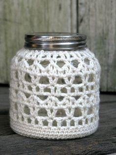 Crocheted Lantern - Candle holder -  Tea candle - Glass jar - White cotton