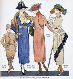 Early 20th century fashion plates.