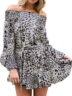 d17b979ccf8 Dresswel Women Autumn Off Shoulder Leopard Printing Skirt Long Sleeve Min  Dress---15.99