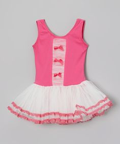 Look at this Hot Pink & White Lace Skirted Leotard - Infant, Toddler & Girls on #zulily today!