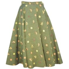 Preowned 1950's Asian Inspired Full Circle Skirt With Embroidered... ($150) ❤ liked on Polyvore featuring skirts, multiple, butterfly skirt, patterned skater skirt, green skater skirt, circle skirt and zipper skirt