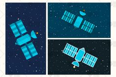 Satellite Illustration. Orbiting Space Station. Modern Cosmos Satellite. Vector