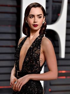 Lily Collins at Oscars Vanity Fair Party 2017 February.