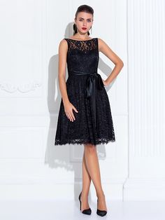 fête de mariage de retour / cocktail / robe de retour - plus noir tailles A-ligne bijou longueur genou dentelle - USD $84.99