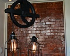 barn hay trolley and hooks made into lighting - Google Search