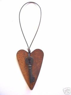 Primitive Rusty Tin HEART w/ KEY ornament