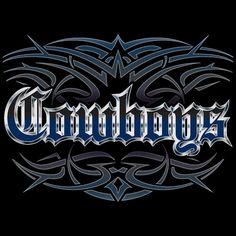 NEW Cowboys tattoo style mens black T shirt Dallas football Blue Wave
