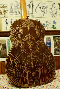 Guitar Sharpied With Sweet Lord Of The Rings Graphics