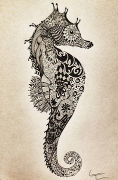Zentangle - the art of doodling, anyone can so it! Check out this cool Seahorse zentangle tattoos Hai Tattoos, Bild Tattoos, Cool Tattoos, Tatoos, Manta Ray Tattoos, Doodles Zentangles, Zentangle Patterns, Tattoo Patterns, Zentangle Animal