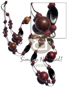 Wood In Brown Robles Wood And Twisted Camagong Tiger Wood Beads In Wax Wood Necklace Wooden Necklace, Wooden Jewelry, Stone Jewelry, Handmade Jewelry, Summer Necklace, Shell Necklaces, Fashion Jewelry, Products, Seashell Jewelry