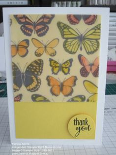 Thank You Card - using Stampin' Up Sheer Perfection Designer Vellum, Stampin' Up Blendabilities and Lotus Blossom Stamp set. Quick Cards, Butterfly Cards, Card Patterns, Potpourri, Thank You Cards, Stampin Up, Projects To Try, Paper Crafts, Spring 2015