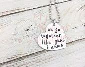 We go together like a gun and ammo! Hand Stamped Necklace