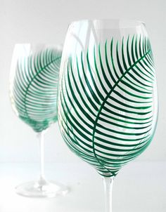 Fern Wine Glasses--Set of 4, handpainted by Mary Elizabeth Arts  >> These are beautiful and another fabulous reason to have a glass of wine! :)