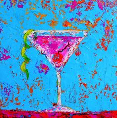Bar Decor Martini glass painting, cocktail art for your home, modern painting, affordable art, colorful accent piece, housewarming gift idea on Etsy, $140.00