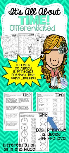 Telling Time DIFFERENTIATED printables!  3 LEVELS on/above/below all in one place! EVERYTHING you need for a successful lesson on time skills. Follow me at www.facebook.com/livelaughlovetoteach for more previews and other differentiated products.