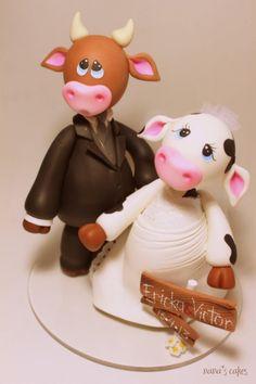 cake topper boda vacas www.nanascakes.cr