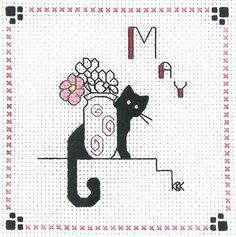 "Finished Completed Cross Stitch Kats by Kelly""May "" 