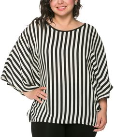 Black & White Stripe Cape-Sleeve Top - Plus by Magic Fit #zulily