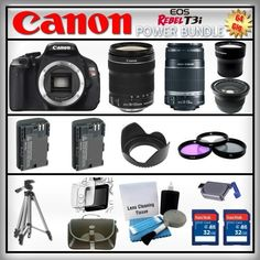 Canon EOS Rebel T3i 18MP - Canon EF-S 18-135mm f/3.5-5.6 IS - Canon EF-S 55-250mm f/4-5.6 - Wide Angle and 2x Telephoto Zoom Lens - 2x 32GB Memory Card - Card Reader - 2 Batteries - Tulip Lens Hood - 3 Piece Lens Filter Kit - Carrying Case - Screen Protector - Lens Cleaning Kit - Full Size Tripod by Canon. $1044.95. Canon EOS Rebel T3i  The next in a long line of phenomenal compact DSLRs, the EOS Rebel T3i continues the Rebel tradition of easy operation, compact design and no-...