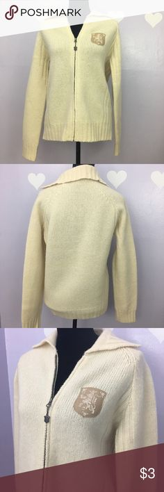 Diesel 100% Wool Zip Up Sweater Ivory Excellent condition Diesel women's wool zip up sweater. No odor nor stain.  Measurement was taken flat, might be off couple inches Body Length: 24.5 Armpit across: 20 Sleeve: 25 Diesel Sweaters