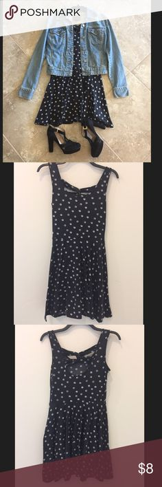 Material girl black/white white polka dot dress M Cute black and white polka dot mini dress. Size medium juniors. No holes or stains. Calvin Klein jean jacket and black heels also for sale in my closet:) Material Girl Dresses Mini