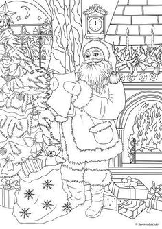 Christmas Joy - Gifts from Santa - Printable coloring pages for adults by Favoreads Printable Adult Coloring Pages, Coloring Pages To Print, Coloring Book Pages, Merry Christmas Coloring Pages, Christmas Coloring Sheets, Christmas Colors, Christmas Art, Beautiful Christmas, Christmas Presents