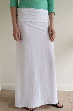 Maxi Skirt Grey and White chevron Cotton Jersey Knit fabric Maxi ...