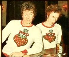 """Steve Jones & Johnny Rotten & WTF are they wearing? ETA: West German music magazine called """"POP"""" feature with SJ & JR, late Punk Rock, Photo Rock, Johnny Rotten, 70s Punk, Batman Outfits, Evolution Of Fashion, One Wave, Rockn Roll, Punk Fashion"""