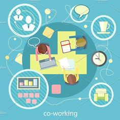 Coworking Concept. Business Meeting. Human Icons. $4.00