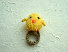 Momshoo Knitted baby bird amigurumi ring by momshoo on Etsy, $7.50
