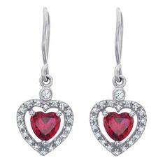 Sterling Silver Heart-Shaped Birthstone and White Topaz Paramour Drop Earrings by ArtCarved® (1 Stone)