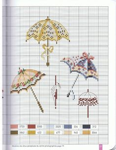 Gallery.ru / Фото #35 - 9 - OlgaHS Cross Stitch Charts, Cross Stitch Embroidery, Le Point, Umbrellas, Fashion Prints, Cross Stitch Floss, Embroidery, Cross Stitches, Crosses