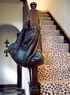 ♥ okay - seriously.. leopard print carpeting on the steps?! I NEED that in my massive closet/lounge/wine room that I will have someday! LOVE LOVE LOVE .. the bag is cute too..
