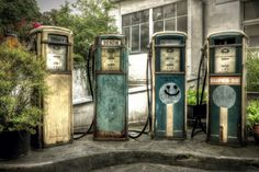 Vintage gas pumps in an abandoned gas station in Berlin, Germany