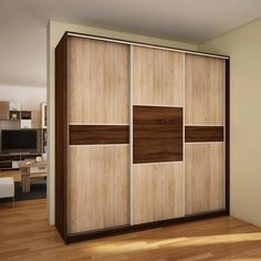"Modern Wardrobe ''Puerto'' 3 slide door C x x High Quality Wardrobe ''Puerto'' L 240 C Wardrobe ""Puerto"" is a 3 door sliding wardrobe which inc Cabinet Door Designs, Bedroom Cupboard Designs, Bedroom Cupboards, Wardrobe Interior Design, Wardrobe Design Bedroom, Modern Wardrobe, New Kitchen Cabinet Doors, Sliding Cabinet Doors, Sliding Door Wardrobe Designs"