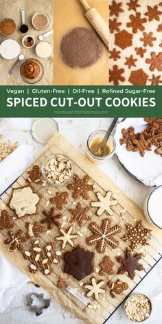 These Spiced Cut-Out Cookies are an excellent holiday treat to share! These are vegan, gluten-free, refined sugar-free, and oil-free!