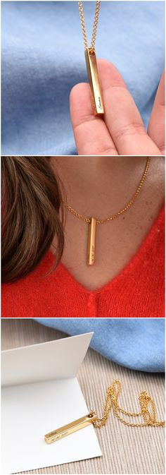 Explore the Pillar Bar Necklace - Gold Plated from Oak & Luna. Fashion jewelry created from fine metals, made exclusively for you. Gold Bar Necklace, Name Necklace, Arrow Necklace, Bohemian Style Jewelry, Presents For Women, Prom Jewelry, Gold Plated Bracelets, Engraved Jewelry, Great Women