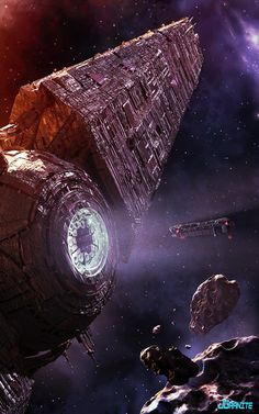 Asteroid mining ship approaching its home base, space opera / sci-fi inspiration
