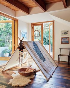 Natural Field Tent in the wild at @moonjuiceshop founder Amanda Chantal Bacon's LA canyon home. Full tour in @voguemagazine