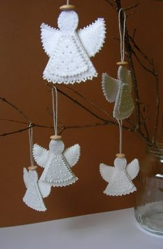 Christmas Felt Angel Decoration MADE TO ORDER BY MisPearlBerry @Etsy: $12.00. Time of making is 2 - 6 working days. Price is for 1 Angel. Decoration was made using felt & embroidered w/ beads. Every detail is hand cut by me. A hand made wooden detail on the top. This decoration would be lovely to hang on a Christmas tree or could be displayed all year round. It's possible to make any color!