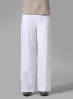 Linen Straight Leg Pants White