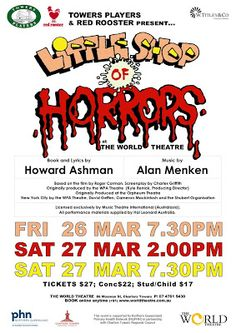 The World Theatre - Charters Towers David Geffen, World Theatre, Roger Corman, Little Shop Of Horrors, Sci Fi Horror, Music Theater, World Domination, Pop Rocks, Towers