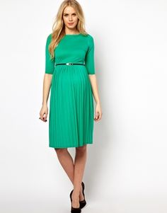 Image 4 of ASOS Maternity Midi Dress With Pleated Skirt