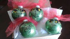 You're A Mean 1 Mr. Grinch  Set of 4 Handpainted Ornaments by TulleyFab on Etsy