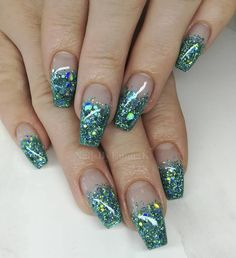 55 Alluring Glitter Nail Art Design Perfect For Every Occasion - CollageCab Glitter Tip Nails, My Nails, French Nails, Square Gel Nails, Natural Gel Nails, Gel Nail Art Designs, Nails Design, Gel Nagel Design, Wedding Manicure