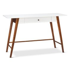 • Painted and stained wood composite<br>• 1 drawer<br><br>The Porter Mid Century Modern Two-Tone Writing Desk/Console Table in White/Brown has a clean-lined look and provides extra work space. This desk has 1 drawer to hold pens, pencils, and paper.