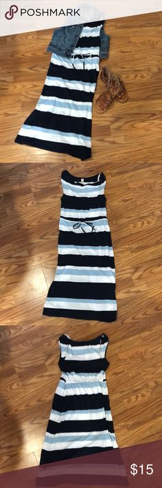 NWT Old Navy Drape Neck Dress Old Navy Drape Neck Dress; Size- S; Color- Blue/White Stripe  New With Tags!  The draped neck adds a feminine touch to this dress and the stripes give it a nautical flair. It's comfortable and soft for easy everyday wear. The skirt falls below the knee and doesn't have any slits. This is a reposh; price is firm. Pet and Smoke Free Home. Bundle and Save with My Closet Discount!   BUNDLE FOUR OR MORE ITEMS FOR A PRIVATE OFFER! Old Navy Dresses Midi