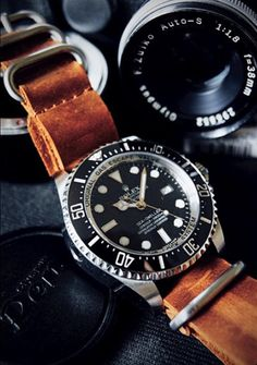 Rolex Sea Dweller with leather NATO strap