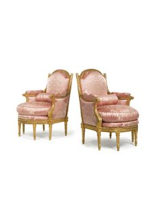 A pair of Louis XVI carved giltwood bergères circa 1780, stamped H. Jacob