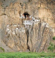 Castle Architecture - Natural Defenses:  Buildings built into cliff sides are naturally protected